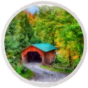 Road To The Covered Bridge Round Beach Towel
