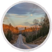 Road To The Moon Round Beach Towel