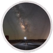 Hitchhike To The Galaxy Panorama Round Beach Towel