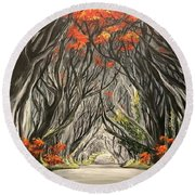 Road To The Throne Round Beach Towel