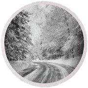 Road To Winter Round Beach Towel