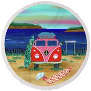 Road Trip No. 1 Round Beach Towel