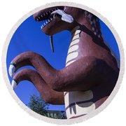 Roadside Dinosaur Round Beach Towel