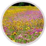 Roadside Flower Garden Round Beach Towel