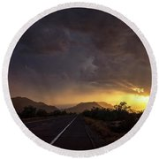 Roadside Sunset  Round Beach Towel