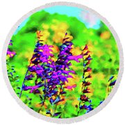 Roadside Wildflowers Round Beach Towel
