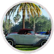Roadster At The Castle Round Beach Towel