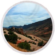 Roadway Rock Formations Arches National Park Round Beach Towel