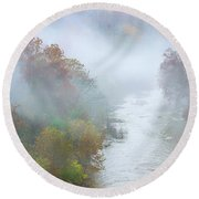 Roanoke River And Fog Round Beach Towel