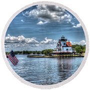 Roanoke River Lighthouse No. 2a Round Beach Towel