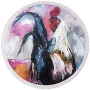 Roanoke Rooster Painting Round Beach Towel