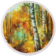 Roaring Birch  Round Beach Towel