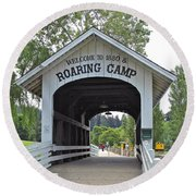 Roaring Camp Covered Bridge Round Beach Towel