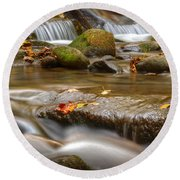 Roaring Fork Stream Great Smoky Mountains Round Beach Towel
