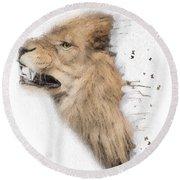 Roaring Lion No 04 Round Beach Towel