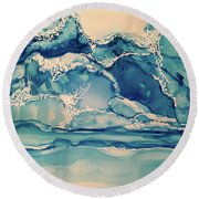 Roaring Waves Round Beach Towel