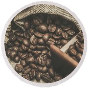 Roasted Coffee Beans In Close-up  Round Beach Towel