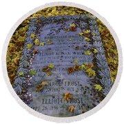 Robert Frosts Grave Round Beach Towel
