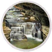 Robert H. Treman State Park Gorge Upper Falls Round Beach Towel