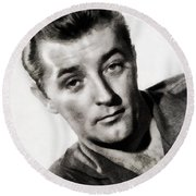 Robert Mitchum, Vintage Actor Round Beach Towel