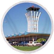 Robert Mueller Municipal Airport And Control Tower, Austin, Texas Round Beach Towel