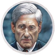 Robert Mueller Portrait , Head Of The Special Counsel Investigation Round Beach Towel