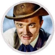 Robert Vaughn, Vintage Actor Round Beach Towel
