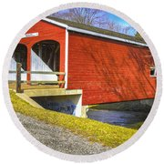 Roberts Covered Bridge Round Beach Towel