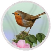 Robin And Camellia Flower Round Beach Towel