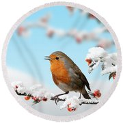 Robin And Cotoneaster With Snow Round Beach Towel