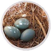 Robin Eggs Round Beach Towel
