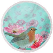 Robin In A Field Of Poppies Round Beach Towel
