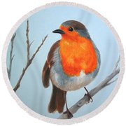 Robin In The Tree Round Beach Towel