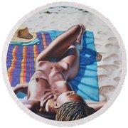 Robin At The Beach Round Beach Towel