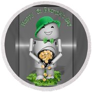Robo-x9 With A Pot Of Gold Round Beach Towel