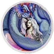 Robot Dragon Lady Round Beach Towel