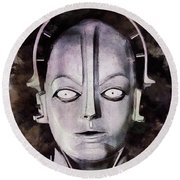 Robot From Metropolis Round Beach Towel