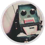Robotic Mech Under Vintage Spotlight Round Beach Towel