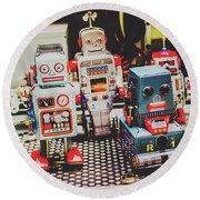 Robots Of Retro Cool Round Beach Towel