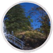 Roche Harbor Chapel In San Juan Island Round Beach Towel