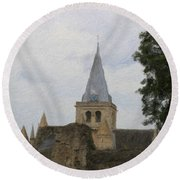 Rochester Cathedral Art Round Beach Towel