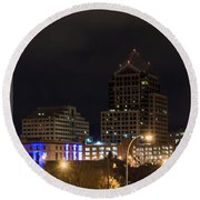 Rochester Skyline From Freddie-sue Bridge Round Beach Towel