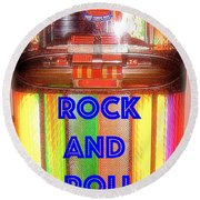 Rock And Roll Jukebox Round Beach Towel