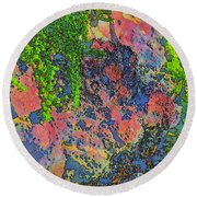 Rock And Shrub Abstract Bright Round Beach Towel