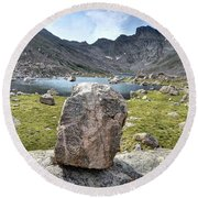 Rock At Abyss Lake Round Beach Towel
