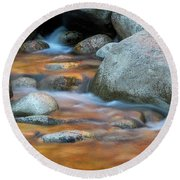 Rock Cave Reflection Nh Round Beach Towel