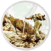 Rock Climbing Mountaineer Round Beach Towel