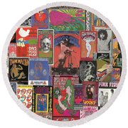 Rock Concert Posters Collage 1 Round Beach Towel