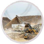 Rock Crushing 3 Round Beach Towel by David Buhler