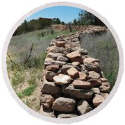 Rock Fence Round Beach Towel